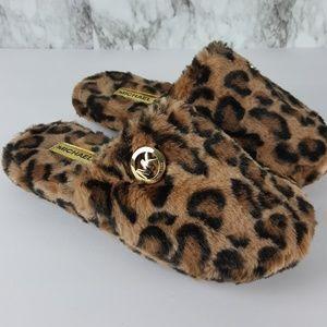 Michael Kors Leopard Print Fuzzy Slippers 2F70